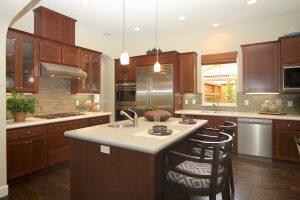 Open kitchen with CaesarStone countertops at Satake Estates in Mountain View.