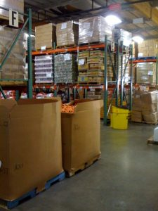 Food bank storage- looks like costco! Check out that huge box of carrots!