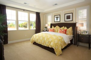 Vibrant colors perfectly accent the golden bedspread and wood furniture for a fresh take on perfectly blending styles.