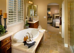 The Perfect Retreat - A soaking tub with neutral accent colors.  A spa in your very own home.